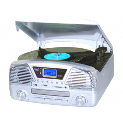 TOCADISCOS STEREO CON RADIO CD MP3 USB SD BLUETOOTH TREVI TT 1068 E PLATA