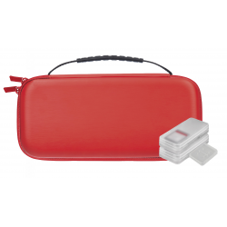 NUWA FUNDA EVA ROJA ANTIGOLPES + 4 ESTUCHES PARA SWITCH
