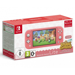C NINTENDO SWITCH LITE CORAL + ANIMAL CROSSING NEW HORIZONS + 2 MESES NSO
