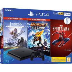 C PS4 SLIM 500 GB + HORIZON ZERO + RACHET&CLANK + SPIDER-MAN
